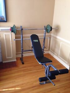 Weight bench & over 100 lbs metal weights, barbell
