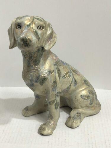 "Ceramic Painted Dog Figurine Textured Leaf & Floral Design Blue Flowers 9"" Tall"