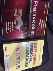 Pharmacology and medical language textbooks brand new