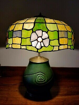 Vintage Arts & Crafts Leaded Glass Table Lamp w/ Hampshire Art Pottery Base