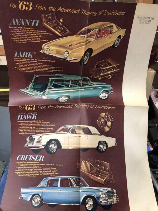 "Vintage 1963 Studebaker Dealership Poster (21 1/2"" X 15"") Avanti Lark Wagonaire"