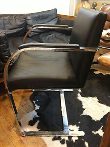 Black Leather Mies van der Rohe Brno Chair