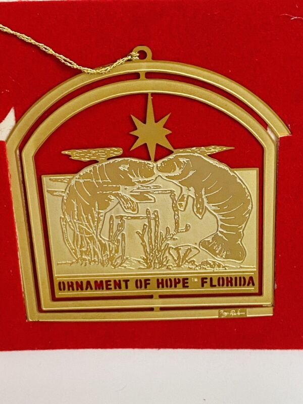 Florida Christmas Ornament ofHope 24K Gold Manatee Sea 1990 #143 Charleston Mint