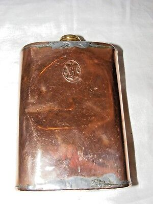 ANTIQUE VINTAGE COPPER AND BRASS HOT WATER BOTTLE CREST CBC
