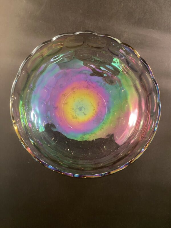 "Beautiful Collectible CARNIVAL Glass ""Purple"" Iridescent Block Design BOWL-9.5""D"
