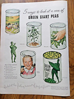 1943 Jolly Green Giant Ad 5 Ways to Look at a Can of Grean Giant Peas