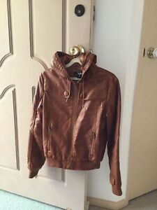 CKM Brown PU Leather Hoodie Jacket (Size 10)
