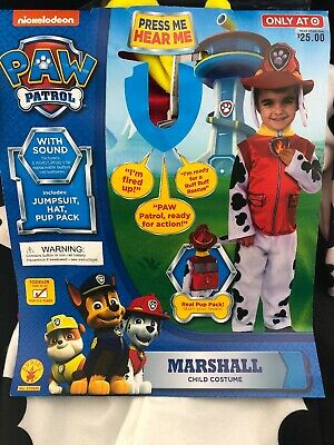 2t Puppy Costume (Toddler Boys Size 2T 3T PAW Patrol Marshall Costume Sound Pup Pack Backpack)