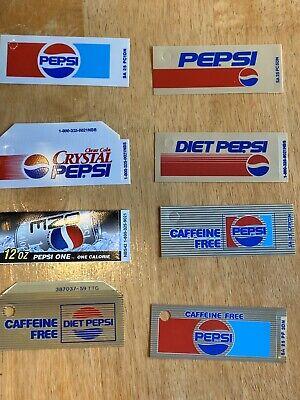 8 Vintage Rare Pepsi Vending Soda Machine Can Vending Label Excellent Condition