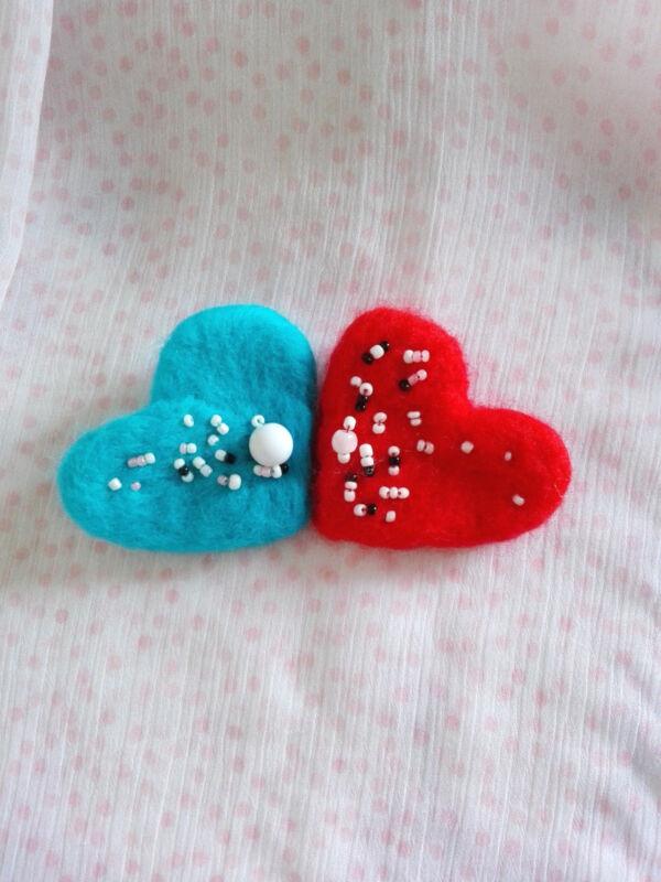 HEART brooch merino wool handmade item, needle felting wonderfull present OOAK