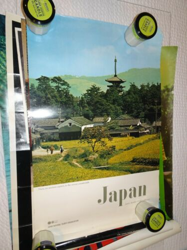 JAPAN Olympics NARA Village Vintage 1972 Travel SAPPORO poster RARE Nice
