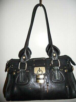 1aa3b6c33b MC MARC CHANTAL Black Leather Satchel Shoulder Bag With Lock   Key Accents  VGUC