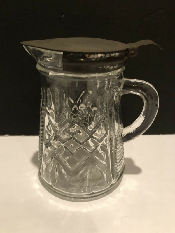 Vintage Clear Glass Maple Syrup Pitcher with Metal Spring Lid