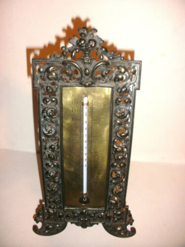 NICE ANTIQUE VICTORIAN CAST IRON ORNATE THERMOMETER