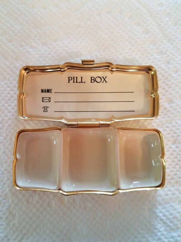 Vintage Antique Pill Box, Hinged, Hong Kong, Bronze Gold