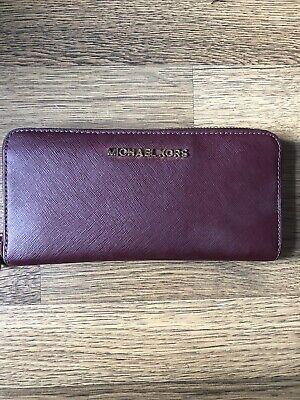 Michael Kors Burgundy Saffiano Leather Long Purse