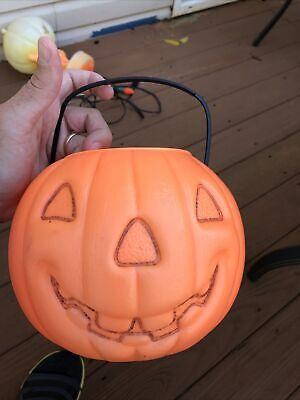 VINTAGE Renzi Halloween Blow Mold Pumpkin Bucket 2 Side WITCH Trick Treat Pail