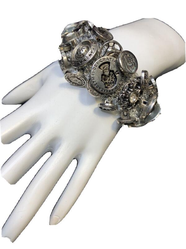 Bracelet Bohemian Silver Vintage Assorted Buttons Hand Woven Stretch Bracelet
