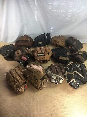Lot of 13 Vintage Softball / Baseball Gloves Adult and child 12-RHT and 1-LHT