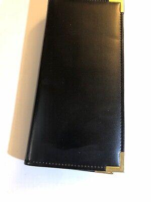 Black Business Card Holder Book Leather 192 Name Cards Organizer Golden Edge