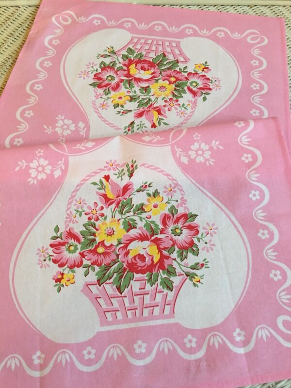 New LuRay Vintage Style Pretty Kitchen Tea Towel - Beautiful PINK Floral BASKET
