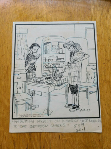 Emmy Lou Original Cartoon Artwork Mary Links 4-2-1953 Teenagers Bobby Sox