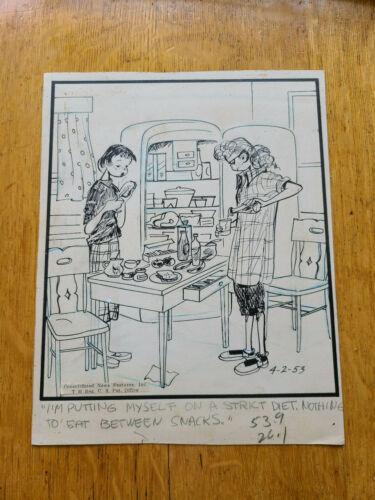 Emmy Lou Original Cartoon Artwork Mary Links 4-2-1953 Teenagers Bobby Sox