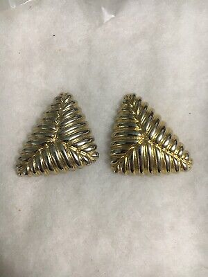 Vintage PAOLO GUCCI Signed Gold Tone Clip On Puff Type Earrings