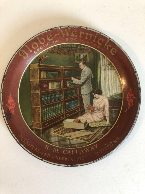 1910 GLOBE-WERNICKE Sectional Bookcases MT. VERNON Washington tin litho tip tray