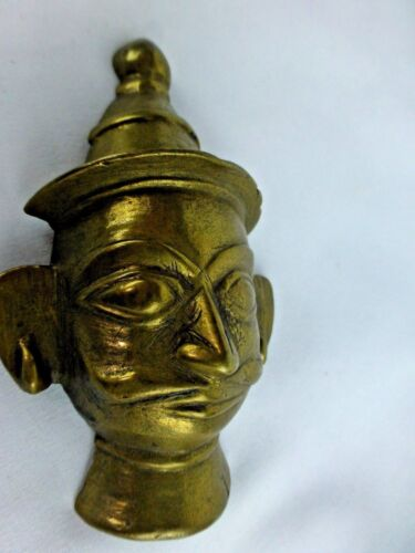 Great Antique Indian Ritual Brass God Shiva Head Mukhalingam #3