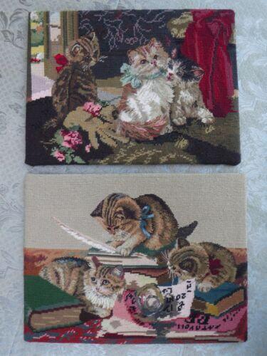 """2pc Vintage Kitten Needlepoint on Boards 16"""""""