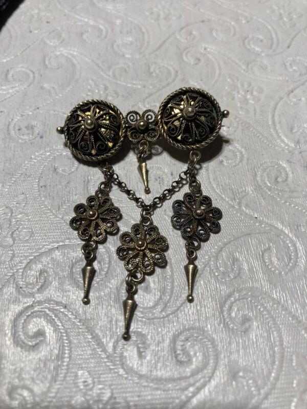 Norway Twin Orb Solje Pin Brooch Filigree Chain w/ Floral Dangles 830S silver