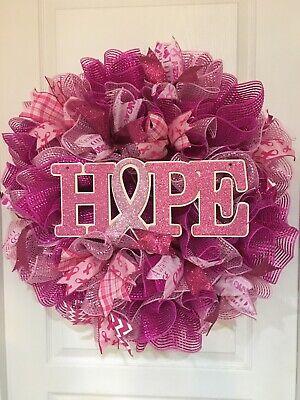 "28"" Decomesh Wreath Breast Cancer Awareness - Breast Cancer Awareness Wreath"