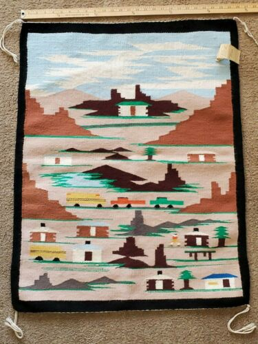 Pictorial Navajo Rug Marie Charley Shiprock NM 1970
