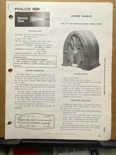 Original Service Manual for the Philco Model R89WA Radio 1973