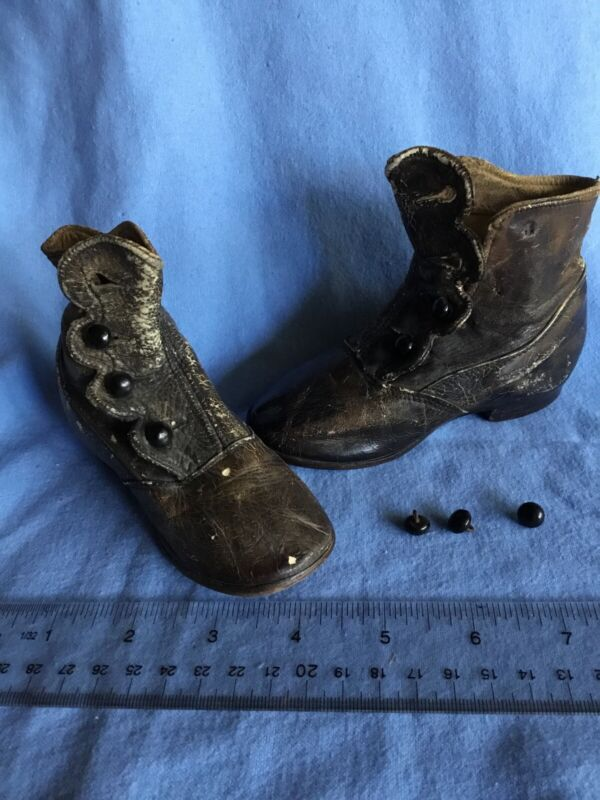 Antique Baby Child High Top Button Black Boots Shoes Leather Victorian