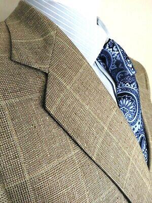 Hart Schaffner Marx Mens Jacket Coat Blazer 100% Silk Windowpane Light Brown 40R
