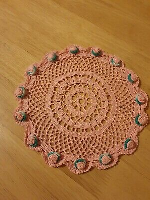 Pink handmade 8,5' crochet doily, slightly stiffened, cotton, vintage decor