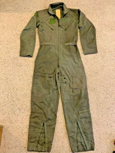 Genuine USAF Military CWU-27/P Nomex Flight Suit Coveralls Sage Green Size 36R
