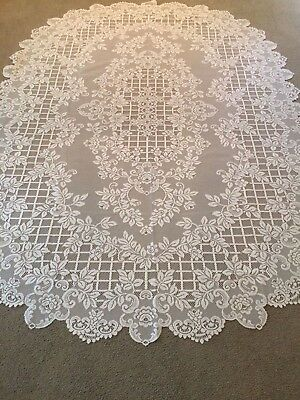 """New White lace Flower Trellis design Tablecloth 60"""" x 83"""" Oval"""
