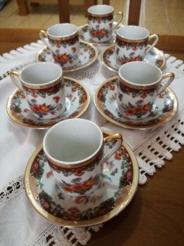 Servizio 6 tazzine di porcellana da caffè giapponese.  Made in Japan.