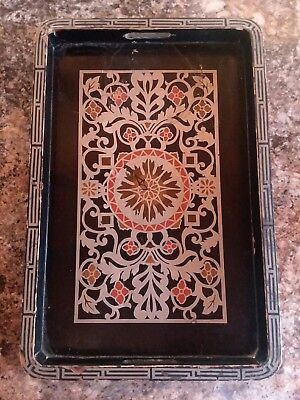 Old Woodenware Serving Tray Greek Pattern 2 Handle Black Lacquer & FOIL Design