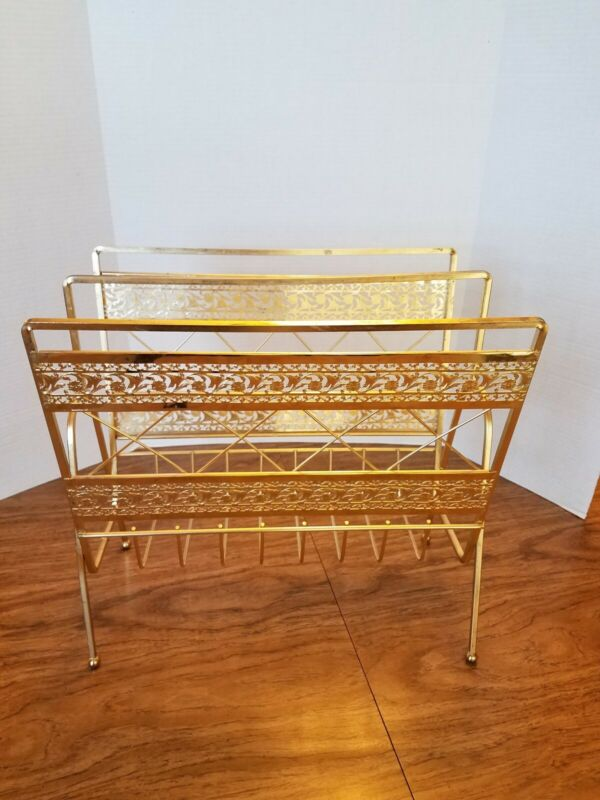 Vintage Mid Century Magazine Record LP Rack Holder Gold tone stand