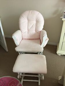 Glider and ottoman pink and wood