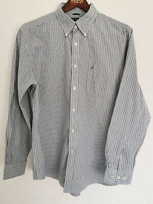 Nautica Long Sleeve Shirt Men's Size XL Striped Grey Great Condition