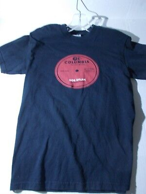 bob dylan  vintage Columbia records label design   tee shirt -black SMALL