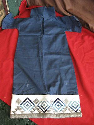 handmade newborn baby gown dress navy embroidered trim