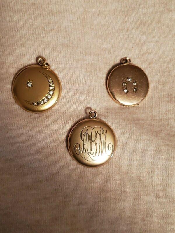 (3) Antique Gold Filled Lockets