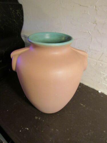 "COORS POTTERY 6"" VASE Light Peach Matte Glaze w/Blue-Green Interior ART DECO"