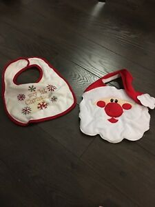 Two Christmas themed bibs